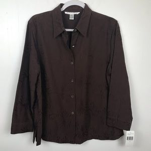 RAFAEL Silk Button Up Blouse Brown Embroidery NWT